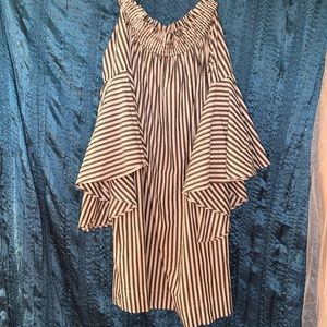 Striped Bell sleeve Dress Large